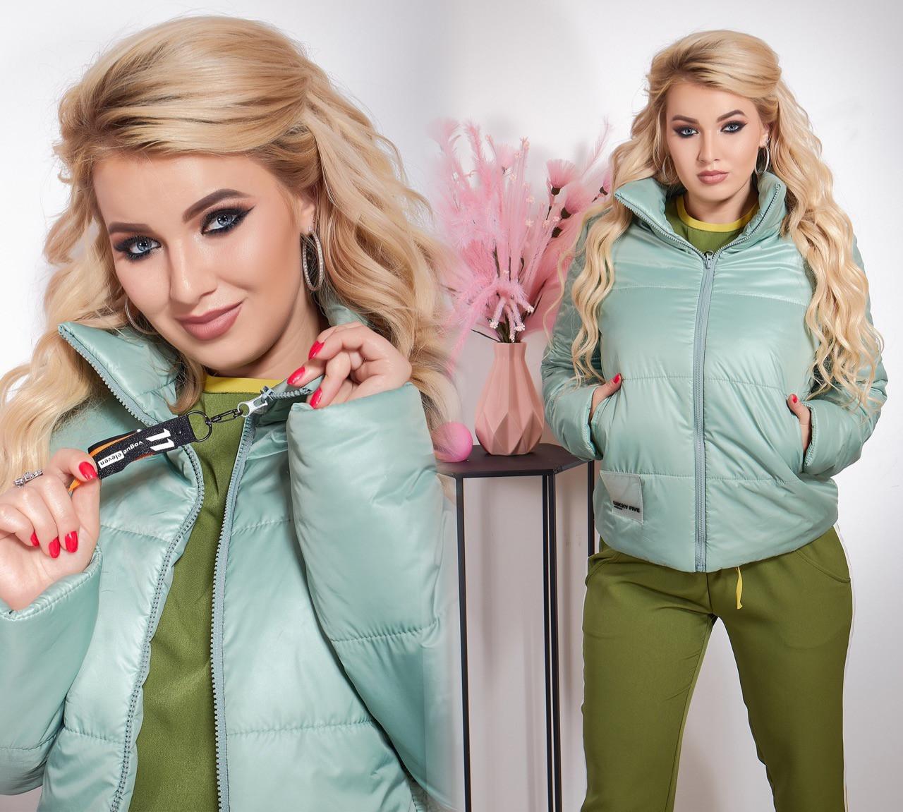 """Женская демисезонная куртка в больших размерах на синтепоне 1196 """"Плащёвка Стойка Шеврон"""" в расцветках"""