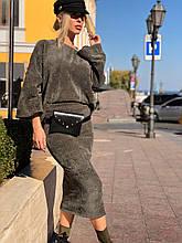 Костюм женский стильный с юбкой в расцветках
