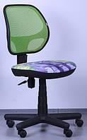Кресло Чат сиденье Дизайн №11 Котенок, спинка Сетка салатовая (AMF-ТМ)