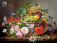 """Пазлы Касторленд 2000 """"Натюрморт с цветами и корзиной с фруктами"""""""