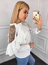 Блузка женская стильная с открытым плечом и воланом в расцветках
