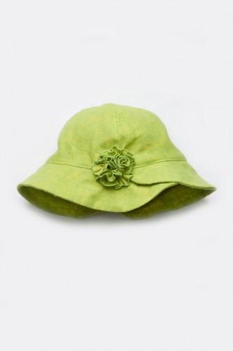 Панамка для девочки с цветком (лен салат)