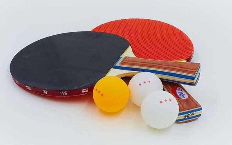 Набор для настольного тенниса 2 ракетки, 3 мяча Boli Star MT-9000, фото 2