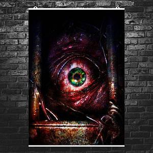 """Постер """"Глаз за решёткой"""". Resident Evil, Обитель зла. Размер 60x43см (A2). Глянцевая бумага"""