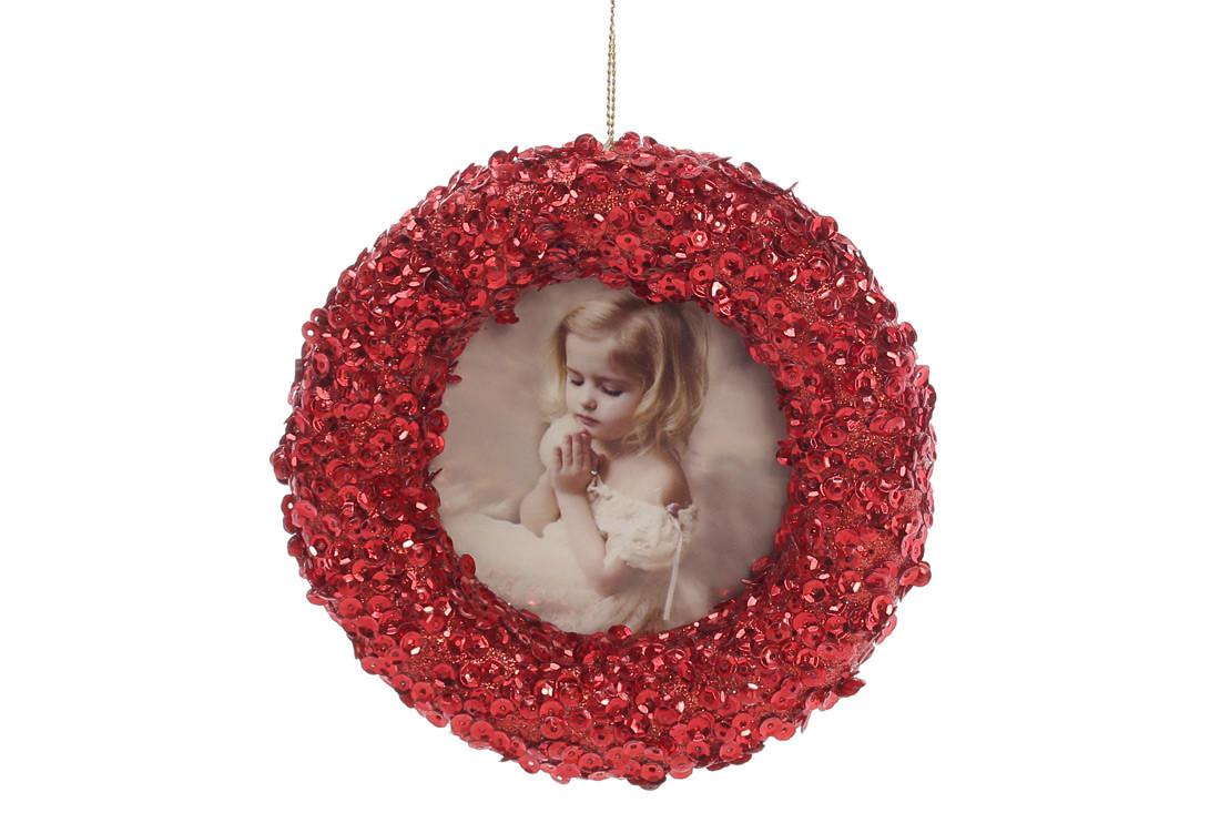 Елочное украшение Фоторамка 12см, цвет - красный BonaDi 182-898