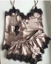 Пижама женская атласная шорты с майкой в расцветках