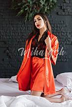 Комплект для сна с кружевом атласный халат и пеньюар в расцветках