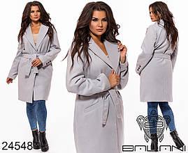 Пальто кашемировое женское осеннее на подкладке с поясом