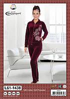 Женский бордовый велюровый костюм 61-1438 bordo (3xl)