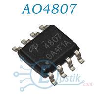 AO4807, MOSFET транзистор P канал, 30В 6А, SOP8