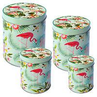 Банка для хранения сыпучих Vulture в наборе 4шт, 10.5*14см, металл, зеленый, овальная, баночки подарочные для чая