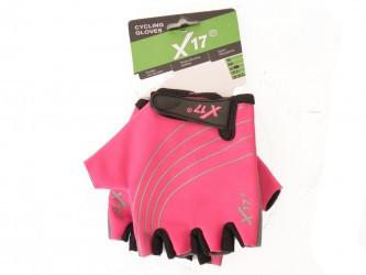 Перчатки велосипедные X17 XGL-118PI детские, розово-черные, L