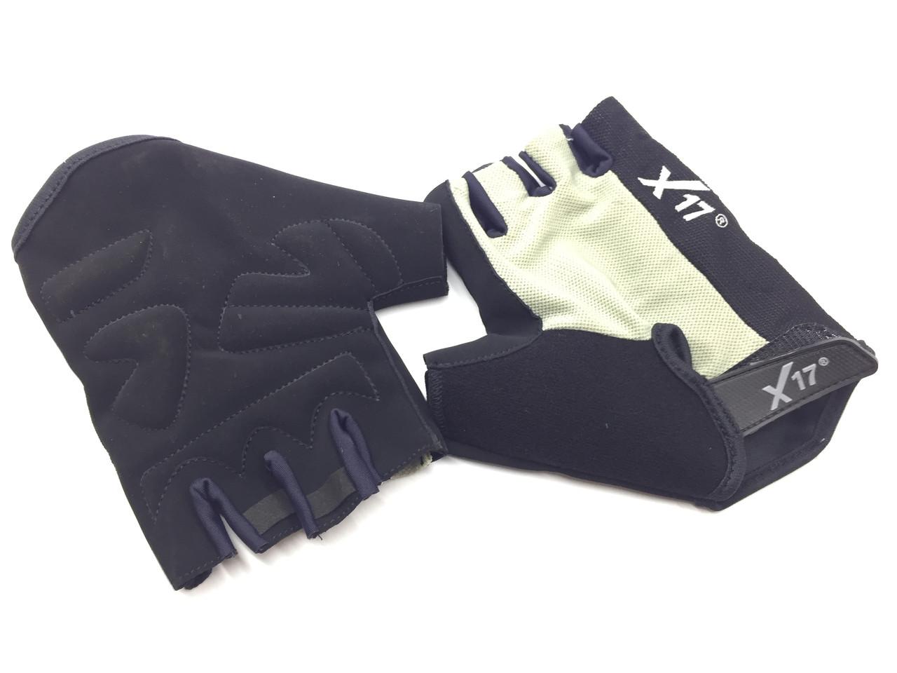 Перчатки велосипедные X17 XGL-527GY серо-черные, L