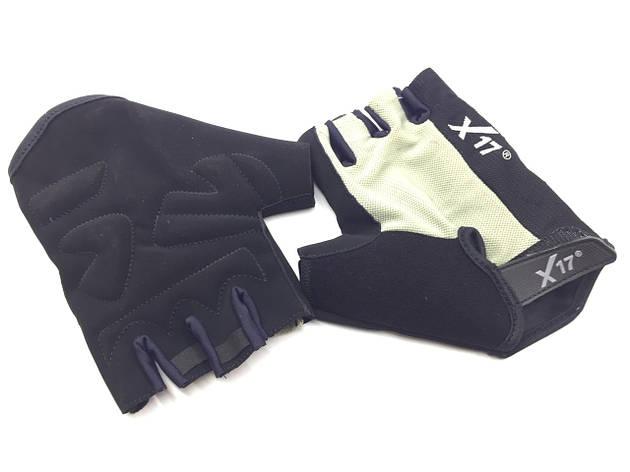 Перчатки велосипедные X17 XGL-527GY серо-черные, L, фото 2