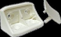 Мебельный пластиковый уголок с 2-мя отверстиями и заглушкой | Куток пласт. з двома отворами 43х24мм, білий, PE [3M0003M06784243240]