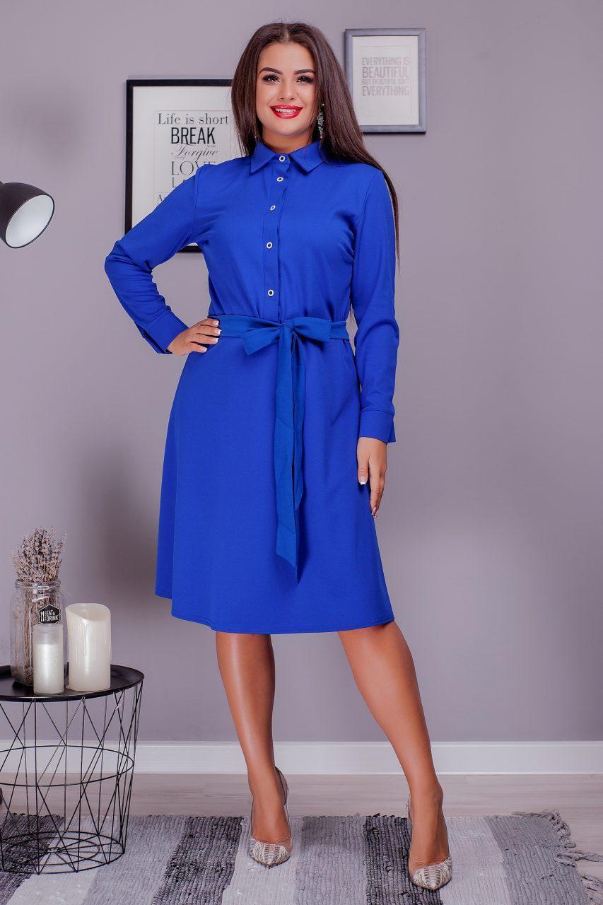Стильное женское платье с поясом электрик 8205