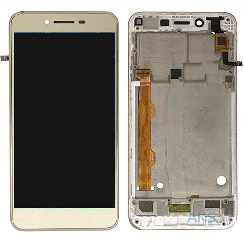 Дисплей и сенсор (модуль) на Lenovo A6020 (A46) золотой с рамкой