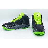 Кроссовки баскетбольные Jordan (черный-салатовый)