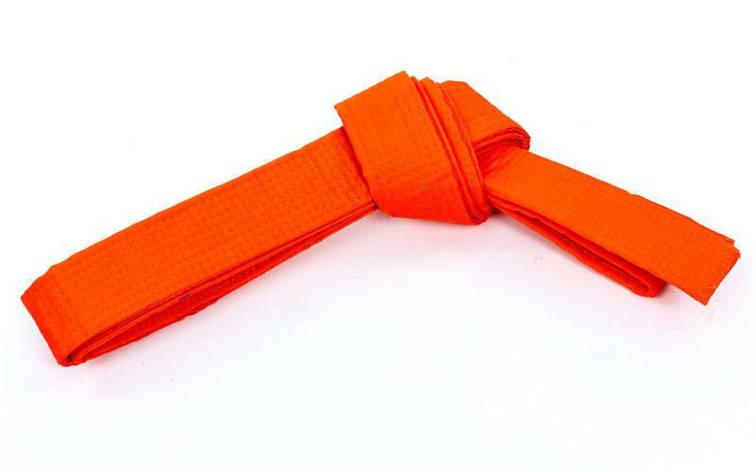 Пояс для кимоно Champion оранжевый CO-4074 (хлопок, полиэстер, длина-260-300см) (3, длина 260см), фото 2