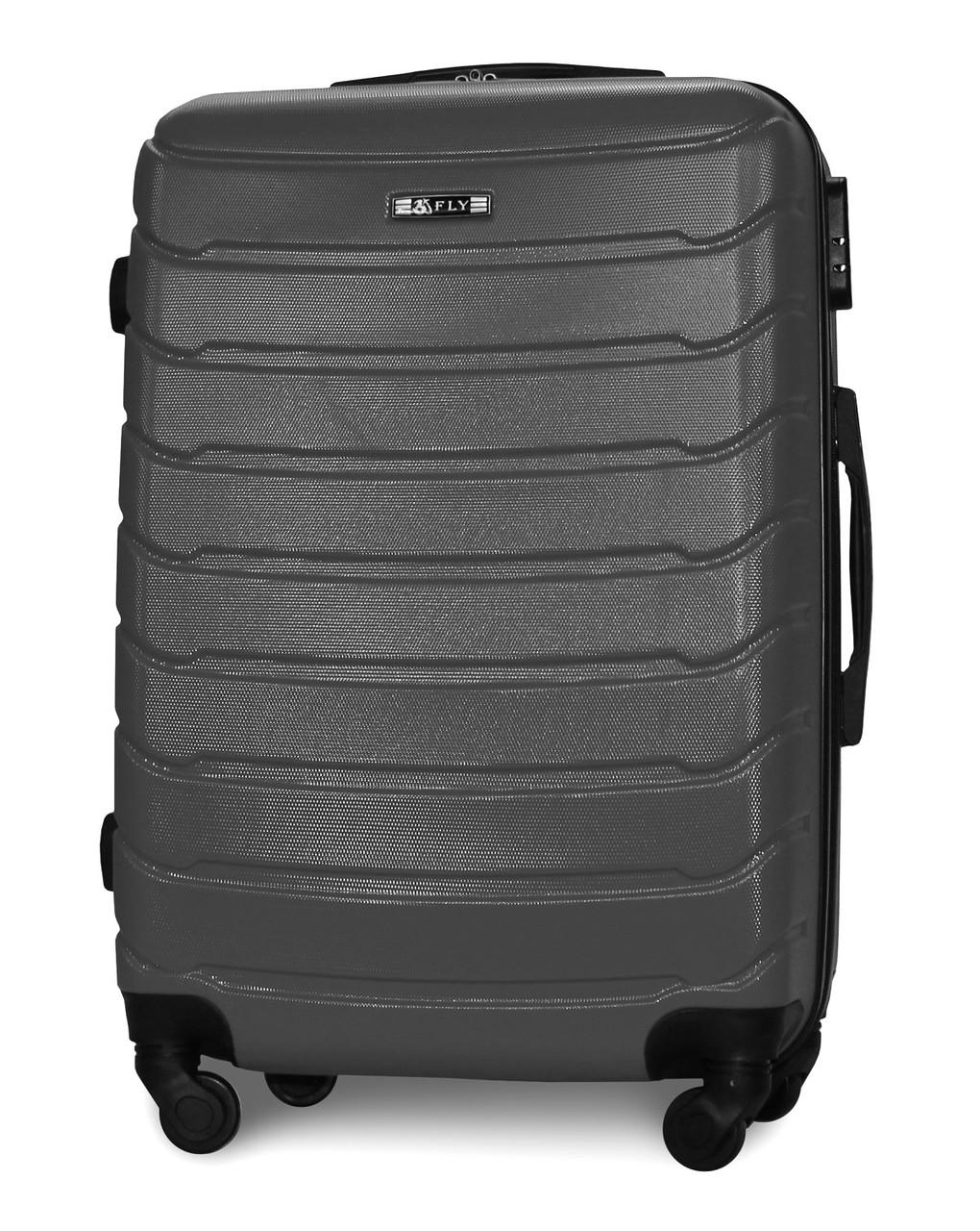 Средний чемодан 65х45х25 см 60л Fly 1107 пластиковый на 4 колесах Темно-серый