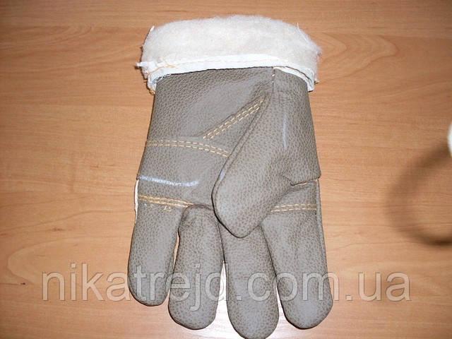 Перчатки комбинированные из кожи и ткани (с меховой вставкой)
