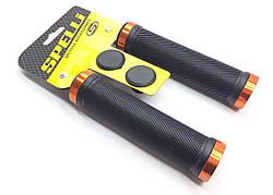 Грипсы Черные с оранжевыми замками длина 132 мм