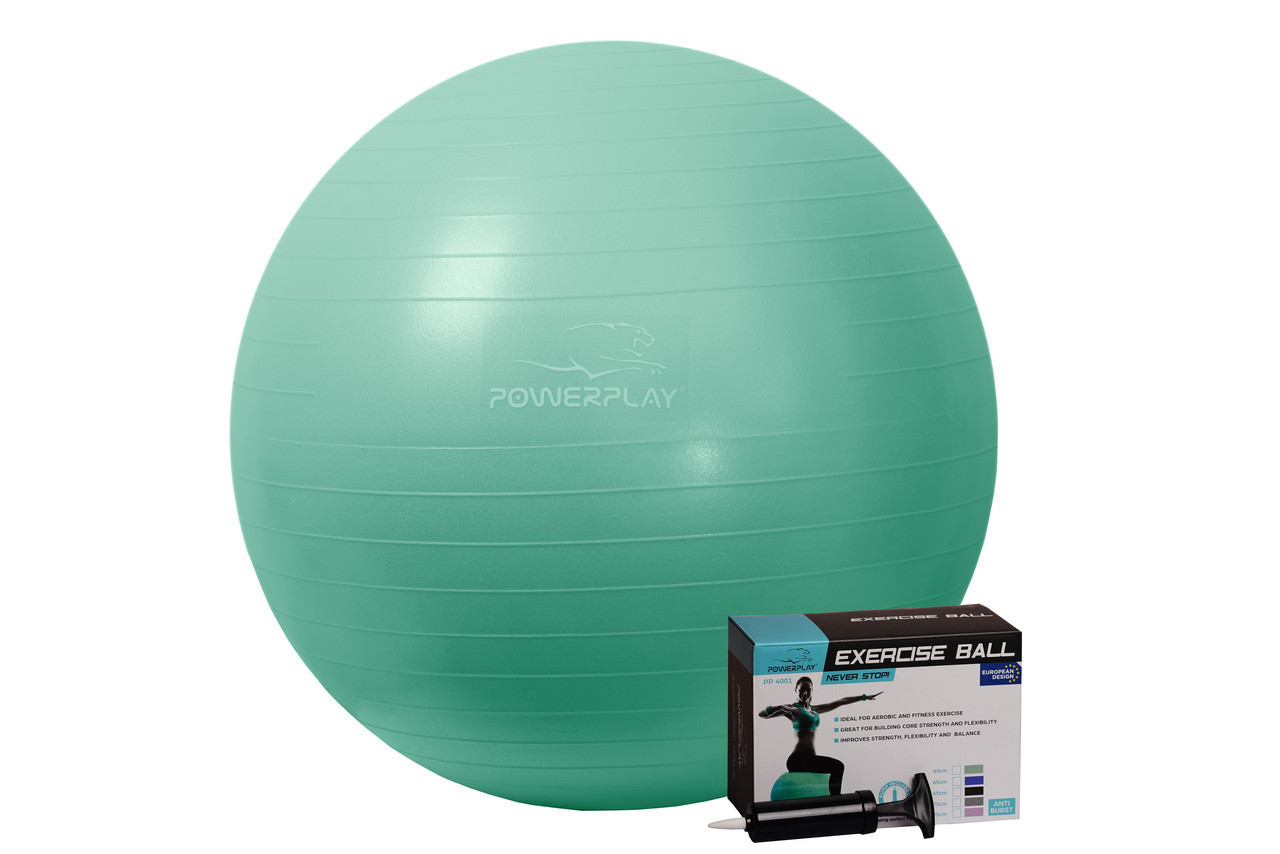 М'яч для фітнесу PowerPlay 4001 65см Мятний + насос