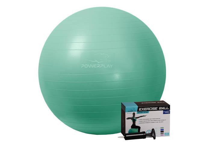 М'яч для фітнесу PowerPlay 4001 65см Мятний + насос, фото 2