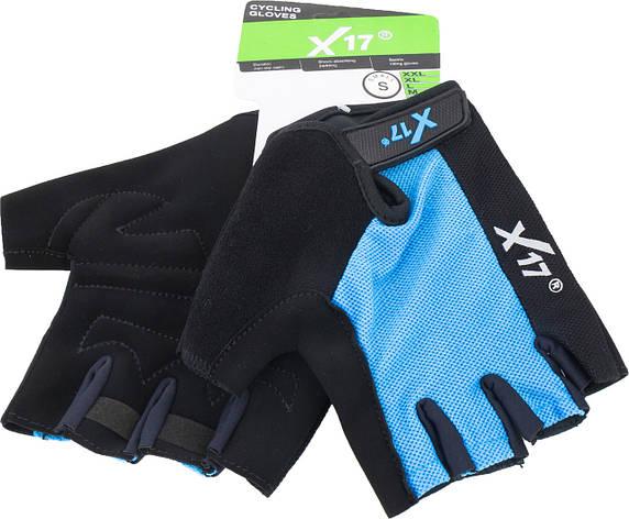 Перчатки велосипедные X17 XGL-527BL сине-черные, M, фото 2