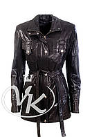 Черная кожаная куртка под пояс (размер S)