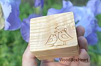 Деревянная шкатулка коробочка футляр для кольца Влюбленные птички