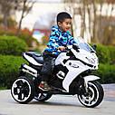 Дитячий електромобіль Мотоцикл M 3688 EL-1, BMW, Шкіряне сидіння, EVA-гума, білий, фото 4