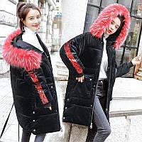 Женский удлиненный зимний бархатный пуховик, парка, куртка с пайетками черный