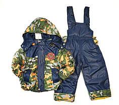 Детский демисезонный комбинезон куртка и штаны для мальчика хаки 1-2 года