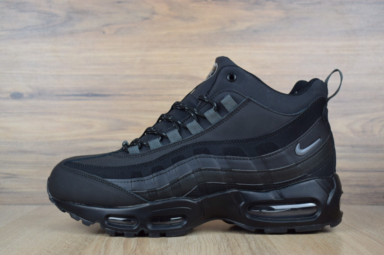 """Зимние кроссовки на меху Nike Air Max 95 """"Черные"""""""