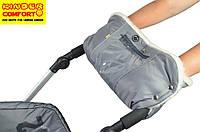 Муфта для рук на коляску с карманом для смартфона (овчина кнопки серая)