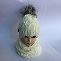 Набор вязаный шапка с хомутом для девочки от 5 до 12 лет
