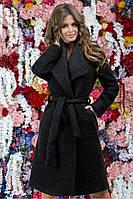 Теплое темно-серое пальто из буклированной ткани 42,44,46