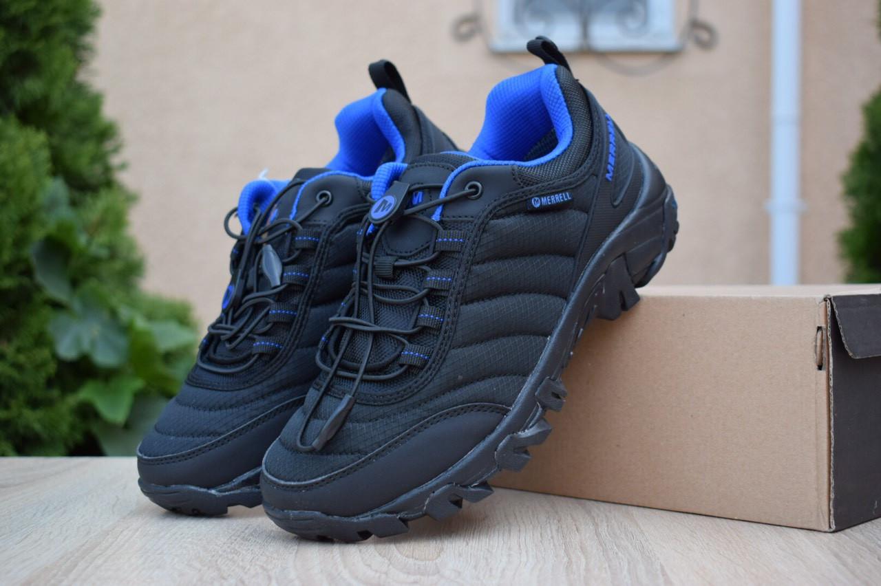 Мужские зимние кроссовки Merrell Vibram (черно-синие) - термо (без меха)