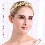 Элегантная свадебная диадема под золото, высота 3,5 см., фото 4