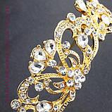 Элегантная свадебная диадема под золото, высота 3,5 см., фото 3