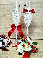 Свадебные бокалы Je t'aime (Bohemia). Цвет марсала.