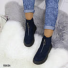 Женские демисезонные ботинки синего цвета, эко замша, фото 2