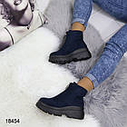 Женские демисезонные ботинки синего цвета, эко замша, фото 3
