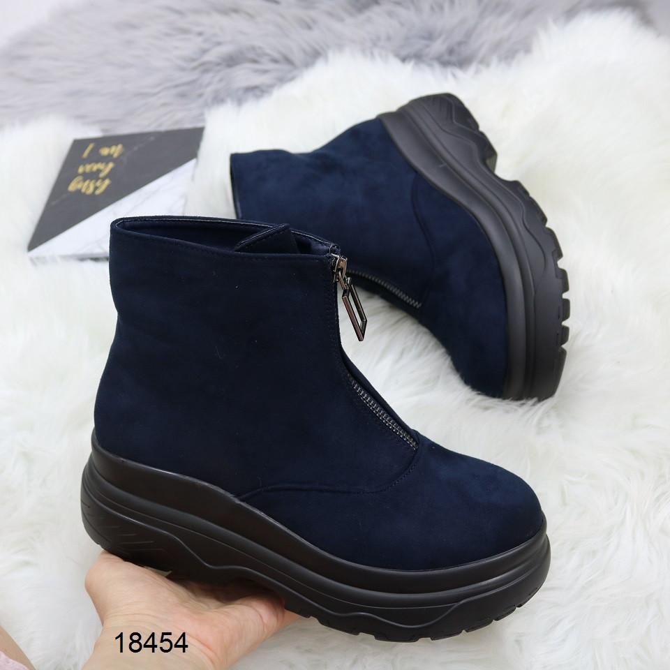 Женские демисезонные ботинки синего цвета, эко замша