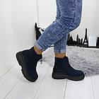 Женские демисезонные ботинки синего цвета, эко замша, фото 4