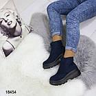 Женские демисезонные ботинки синего цвета, эко замша, фото 6