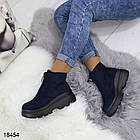 Женские демисезонные ботинки синего цвета, эко замша, фото 5