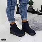 Женские демисезонные ботинки синего цвета, эко замша, фото 7