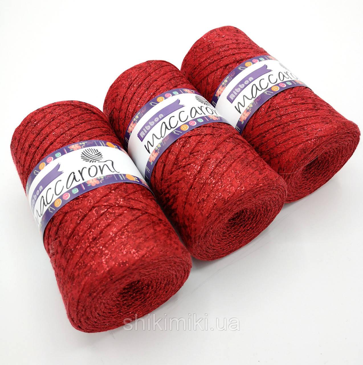 Трикотажный плоский шнур Ribbon Glitter, цвет Красная звезда
